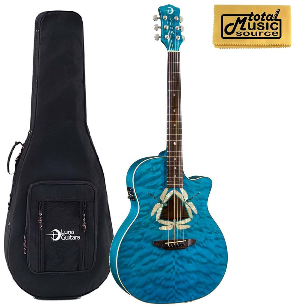 Luna Fauna Dragonfly Acoustic/Electric Guitar w/ Case, Trans Teal, FAU DF QM LL DG