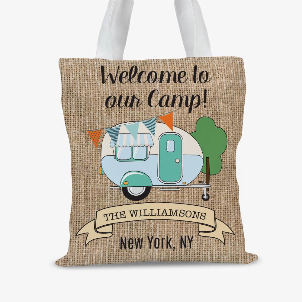 Welcome To Our Camp Personalized Tote Bag
