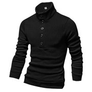 Azzuro Men's Mock Neck Button Closure Front Design Casual Knit Shirt (Size S / 34)