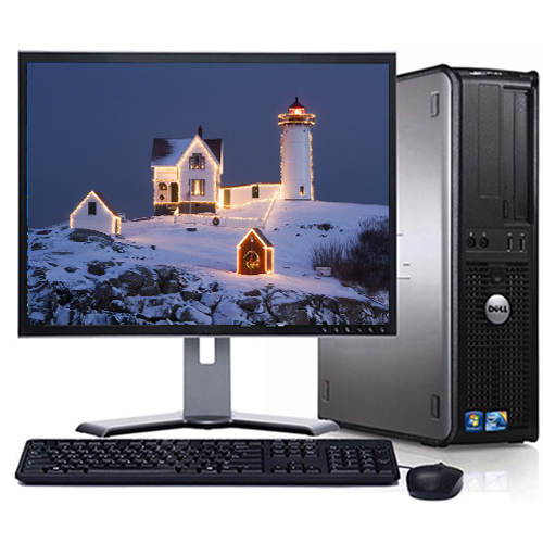 """Refurbished Dell Optiplex Windows 10 Desktop Computer Tower System with 250 GB Hard Drive and a 19"""" LCD Screen"""