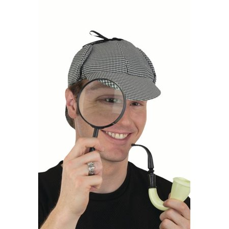 Mystery Solver British Detective Hat Pipe Magnifying Glass Cosplay Accessory Kit - Detective Costumes