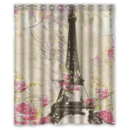 HelloDecor Paris Eiffel Tower WithPink Flower Shower Curtain Polyester Fabric Bathroom Decorative Curtain Size 60x72 Inches Eiffel Tower Fabric