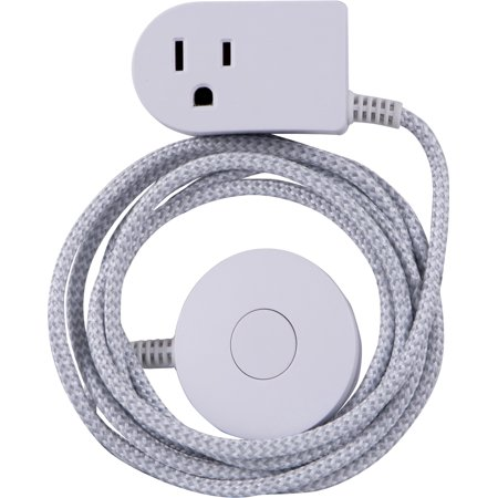 Cordinate Decor 6ft. Braided Extension Cord Tabletop Switch, 41095 (Cord Switch)