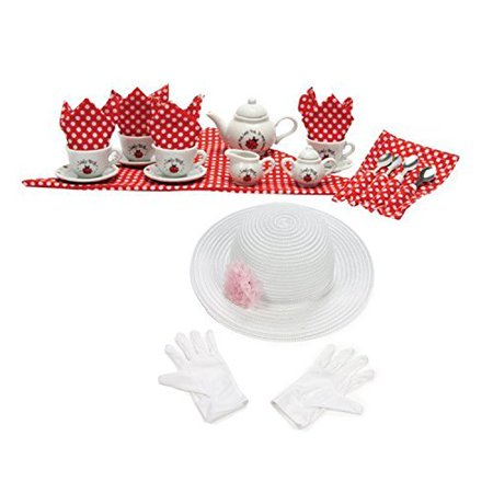 Tea Party Hats And Gloves (Schylling Ladybug Porcelain Tea Set with Fun Express Polyester Tea Party Hat and Gloves)