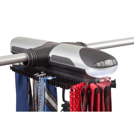 Motorized Tie Rack and Belt Organizer for Closet with Cool LED Lights - Battery Operated - Holds 72 Ties and 8 Belts - FREE Travel Tie Pouch and Clip Included - Includes J Hooks for Wire (Best Motorized Tie Rack)