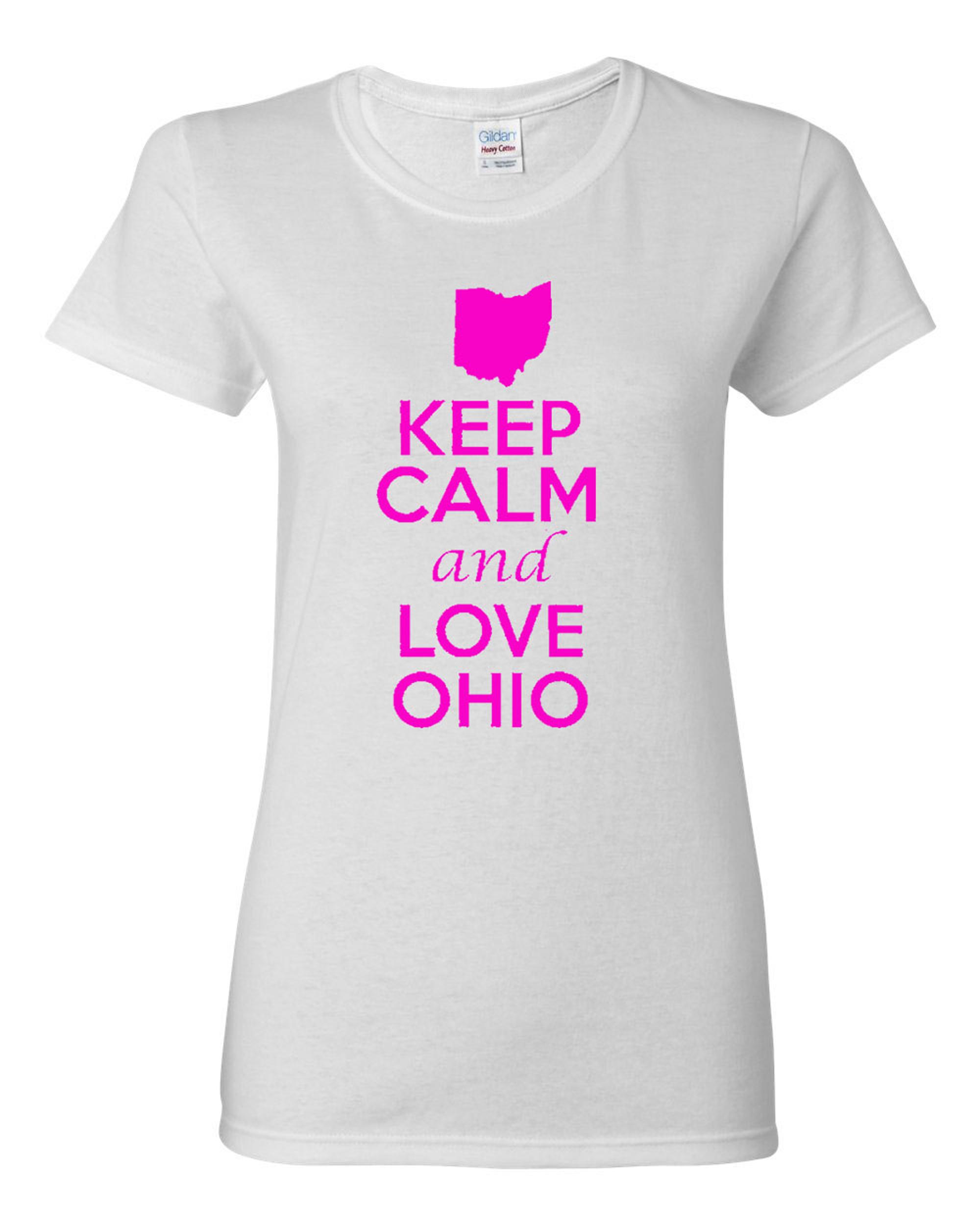 Ladies Keep Calm And Love Ohio Country T-Shirt Tee