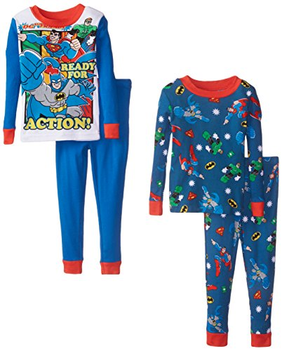 Justice League Little Boys' Super Friends 2 For 1 Cotton Set 4 Piece, Multi, 3T