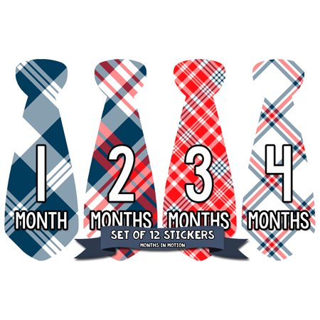 Months in Motion 770 Monthly Baby Stickers Necktie Tie Baby Boy Month Milestone Sticker 12 Different Plaid Designs - Sticker Designs