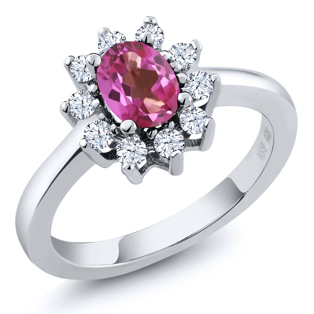 1.35 Ct Oval Pink Mystic Topaz White Topaz Sterling Silver Ring