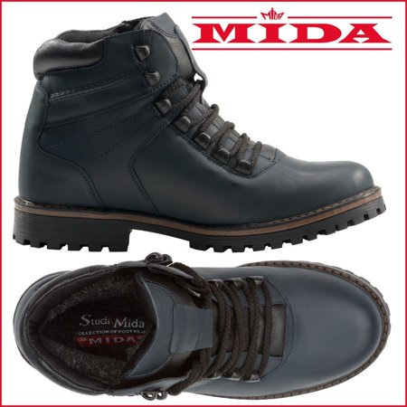 - MIDA Men's Winter Boots: Leather And Fur Waterproof Snow Shoes, Non-Slip OC SystemSole, Safety Ice Footwear, Warm And Comfortable