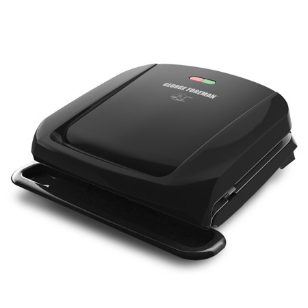 George Foreman 4-Serving Removable Plate Electric Grill and Panini Press, Black,