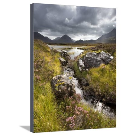View over Loch Caol to Sgurr Nan Gillean and Marsco, Glen Sligachan, Isle of Skye, Highlands, Scotl Stretched Canvas Print Wall Art By Lee -