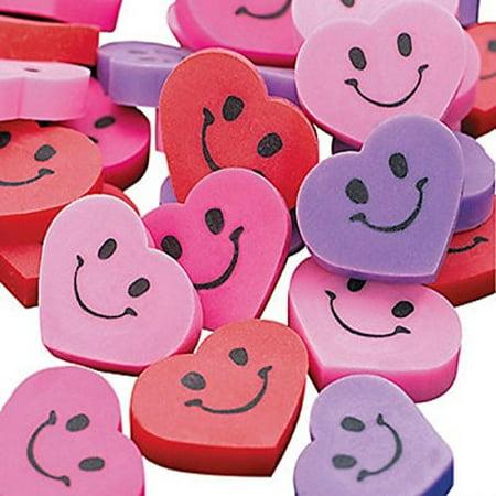 48 Heart Smile Face Mini Erasers 3 4 New Wedding