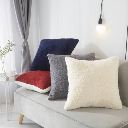 Mainstays Ultra Soft Reversible Oversized Sherpa Decorative Throw Pillow, Multiple Colors