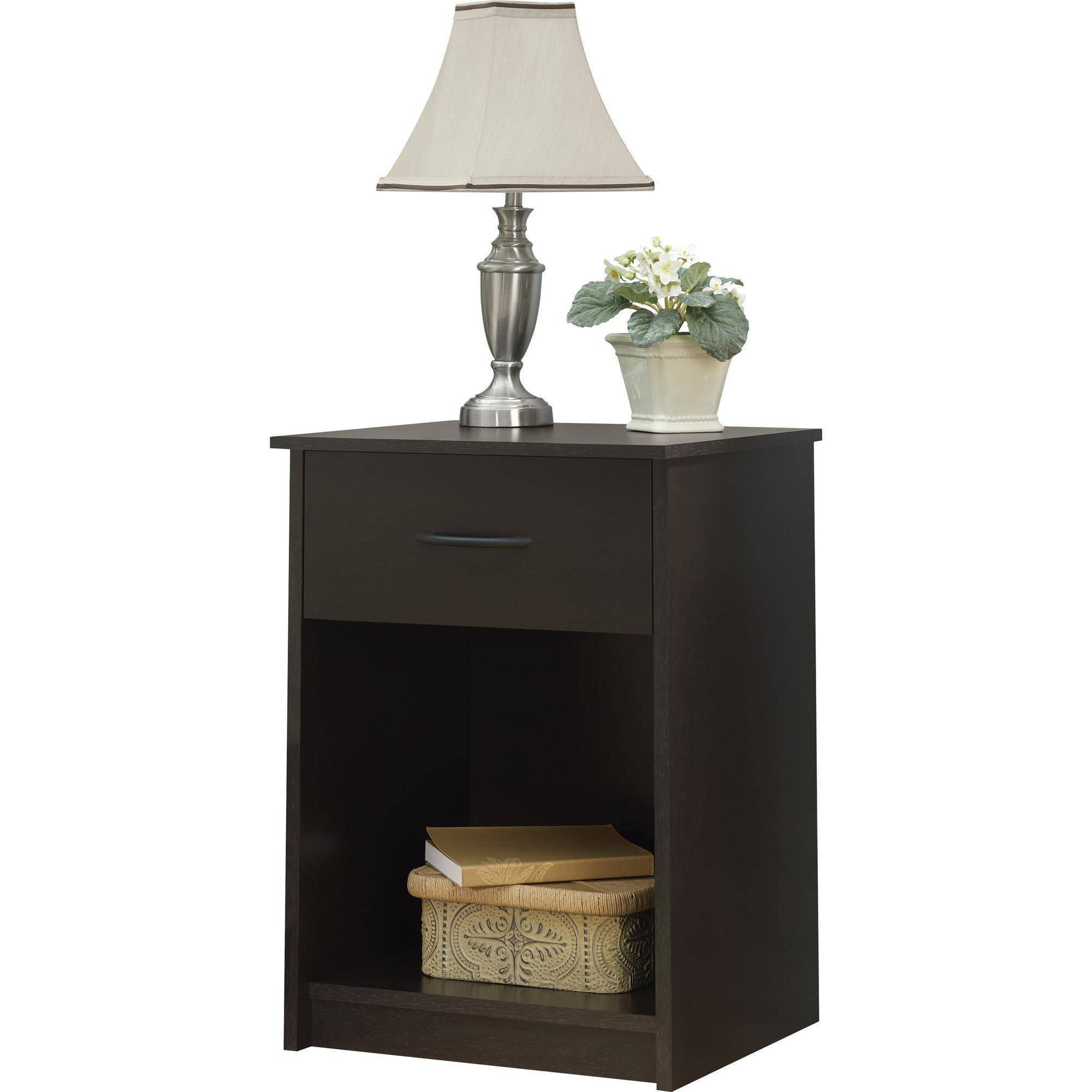 Mainstays 1 Drawer Nightstand End Table Black Ebony Ash