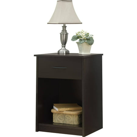 Mainstays 1 drawer nightstand end table espresso for Multi night stand