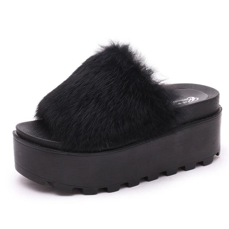 Women Platform Fur Slippers Flat