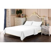 The Great American Store 1800 Series Brushed Microfiber Attached Waterbed Sheet Set Queen Size White Solid