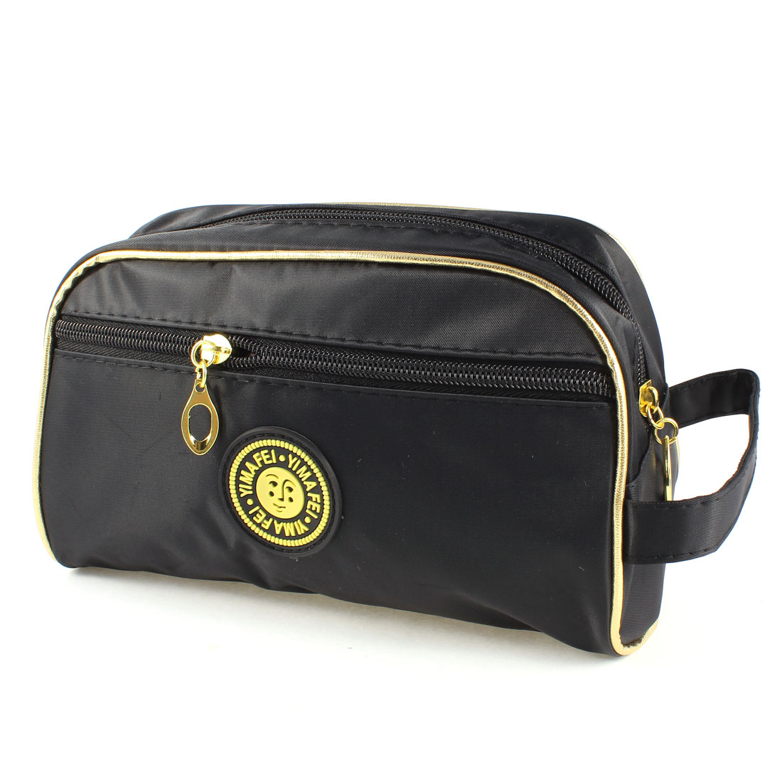 Zipper Closure Polyester Rectangular Black Cosmetic Makeup Bag for Women
