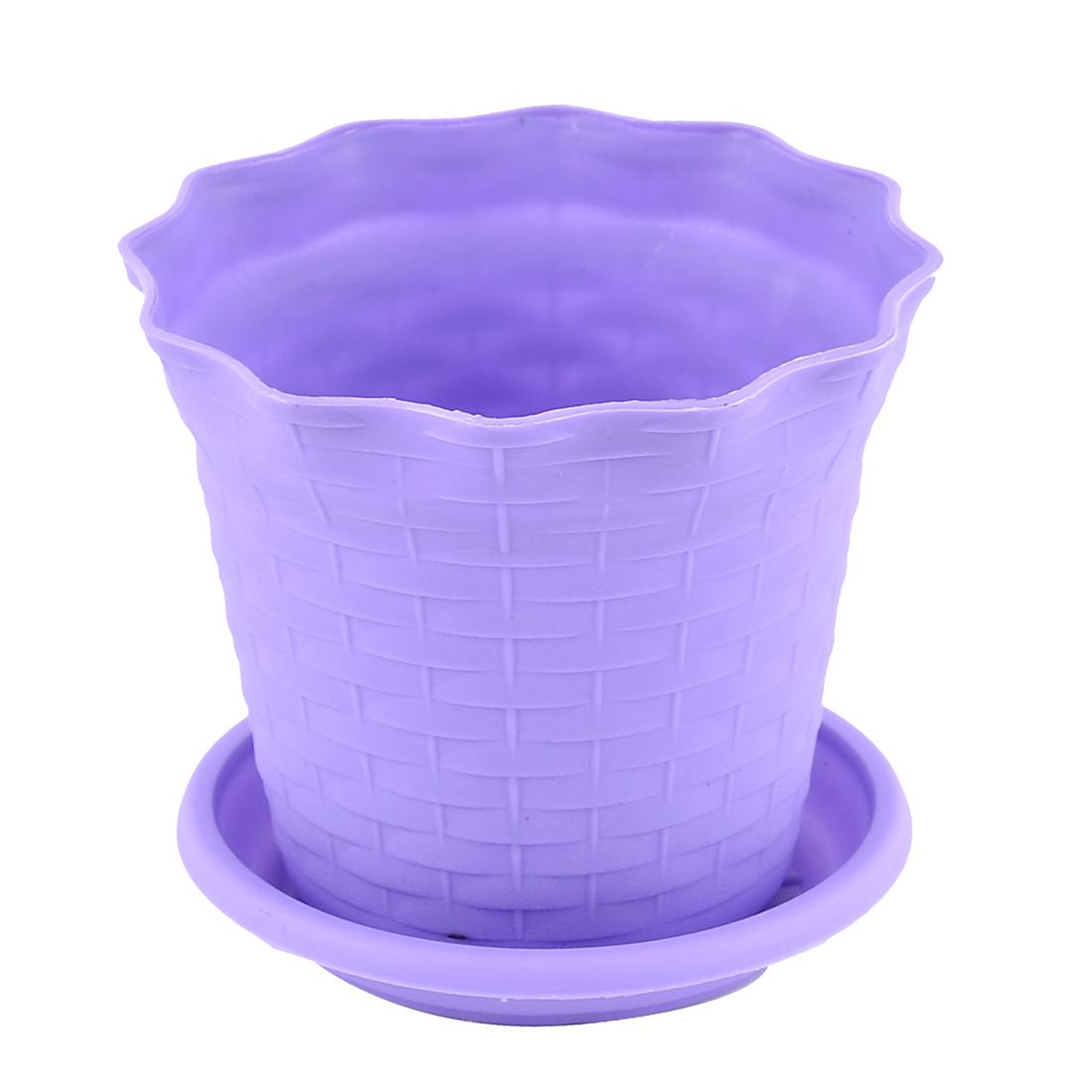 Unique Bargains Purple 12.5cm Diameter Plastic Round Flower Pot Plant Garden Planter w Tray