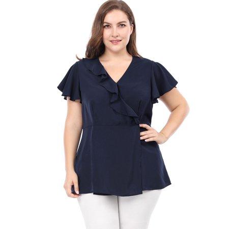 Ruffle Neck Wrap - Unique Bargains Women's Plus Size Ruffle Design V Neck Wrap Blouse