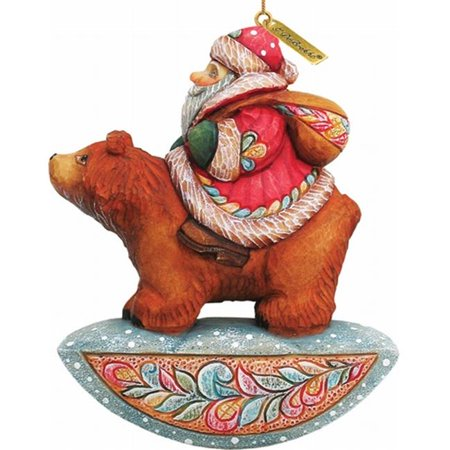 G.Debrekht 63121 General Holiday Santa On Bear Ornament 4 in.