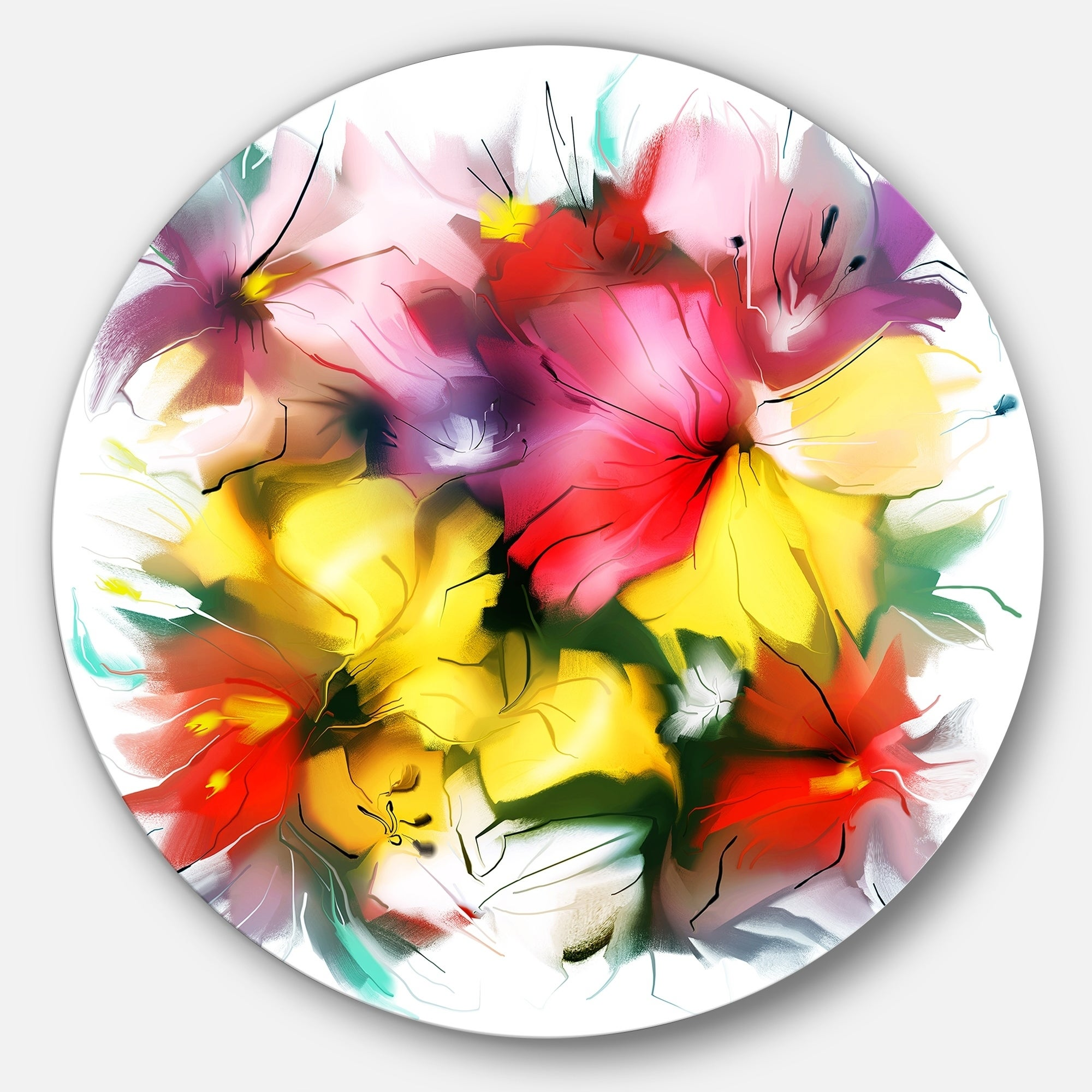 Disc of 23 23 H x 23 W x 1 D 1P Flowers Round Metal Wall Art Designart Blooming Red Rose on White