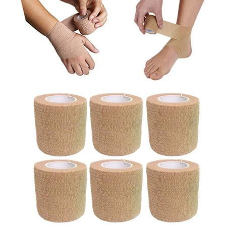 "6 Pc 2"" Self Adhesive Bandage Gauze Rolls Elastic Adherent Tape First Aid Wrap"