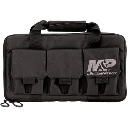 M&P by Smith & Wesson Pro Tac Double Handgun Case Padded Pistol Bag for Hunting Shooting Range Sport, BE PREPARED: Featuring 3 double pistol mag pockets.., By Smith