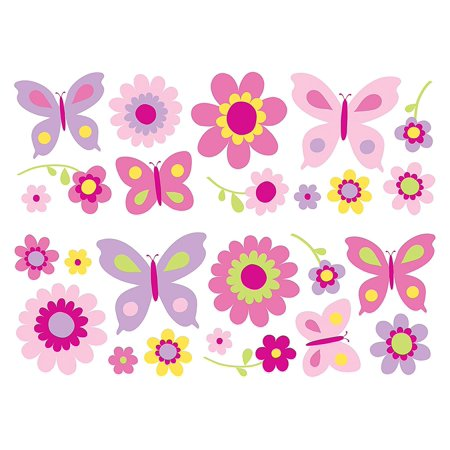SA30149 Flowers and Butterflies Wall Stickers, Peel and stick appliques By -