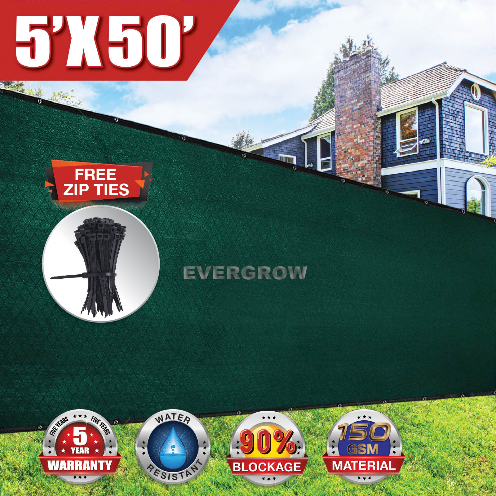 EVERGROW® 5' x 50' Dark Green Fence Privacy Screen Windscreen Shade Fabric Mesh Tarp Mesh Brass Grommets FREE Zip Ties with 5 Years Warranty 90% UV Blockage (G-FENCE-5X50-GREEN)