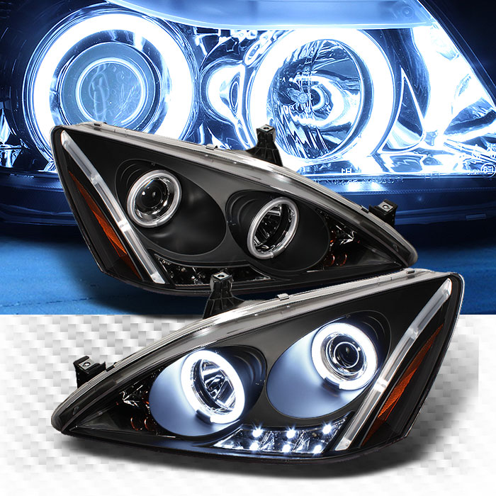 Twin CCFL Halo LED 2003 2007 Honda Accord Projector Headlights Black Head  Lights Pair Left