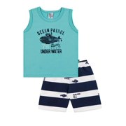 Toddler Boy Outfit Tank Top and Striped Shorts Set Pulla Bulla Sizes 1-3 Years
