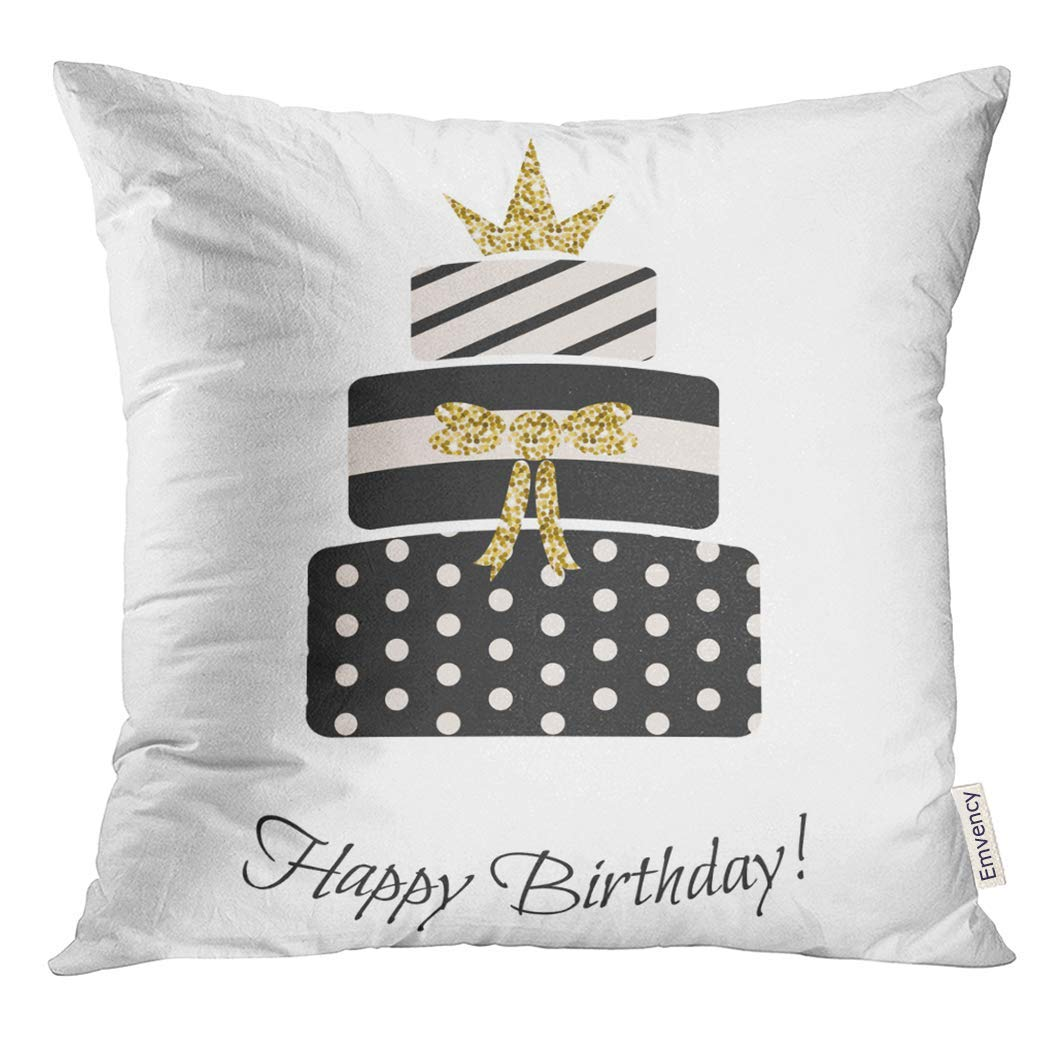 USART Glam Birthday Cake for Girls Black and Pastel Pink Striped Dotted Three Tier Gold Crown Topping Pillow Case 20x20 Inches Pillowcase