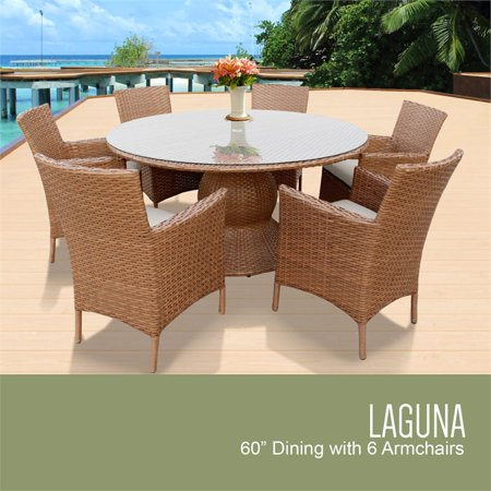 Tkc Laguna 7 Piece 60 Round Gl Top Patio Dining Set