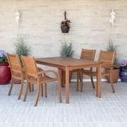 Amazonia Arizona 5-piece Patio Rectangular Dining Set | Eucalyptus Wood | Ideal for Outdoors and Indoors