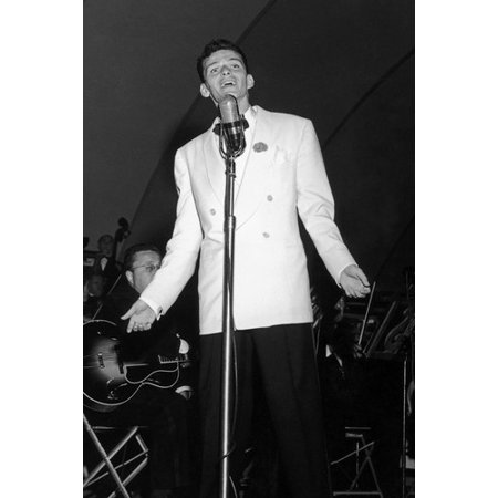 1940's Photograph - Frank Sinatra 24x36 Poster Photo by Microphone 1940's