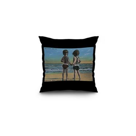 Black Scene Kids - Laguna Beach, FL - Greetings From Scene w/ Kids (16x16 Spun Polyester Pillow, Black Border)