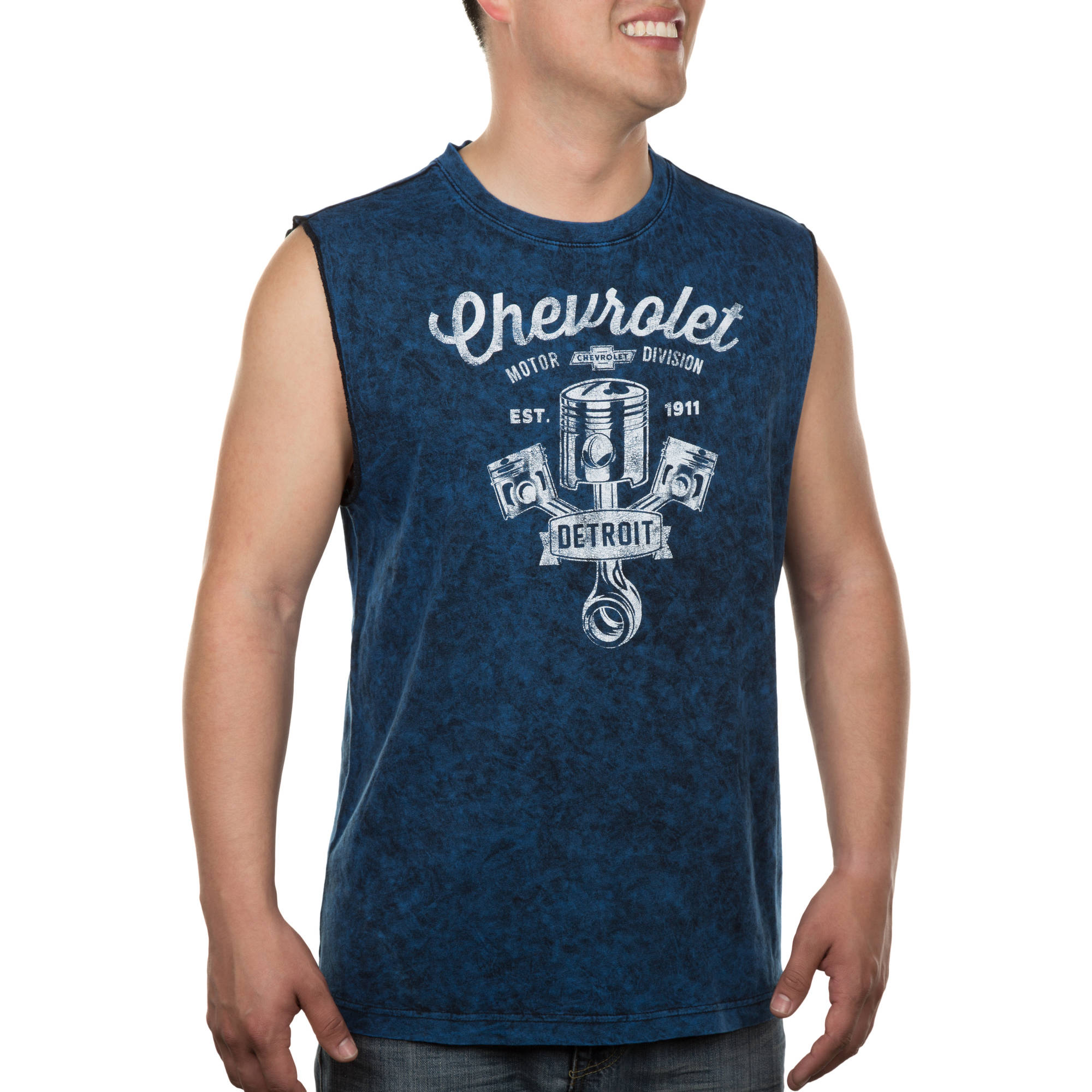 Men's General Motors Logo Crest Distressed Wash Graphic Muscle Tank