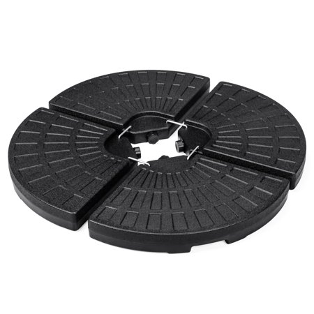 Best Choice Products 4-Piece Cantilever Offset Patio Umbrella Circular Base Stand, Fills Up to 160lbs w/ Carry Handles, Easy-Fill Spouts, Base Connector Hooks, UV Stability ()