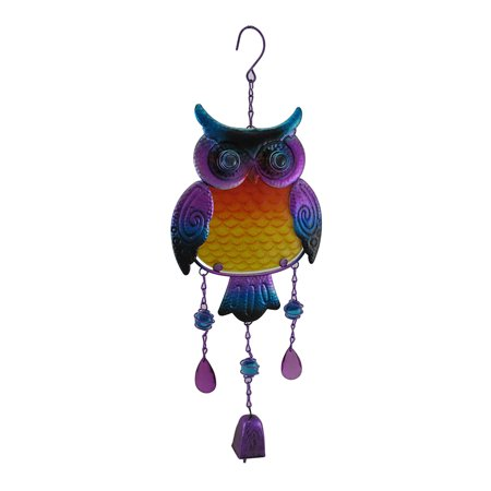 Purple Hanging Tin Owl Sculpture w/Bell and Glass Insert Body