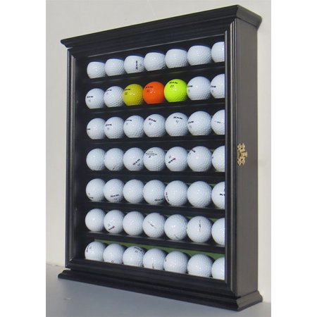 49 Golf Ball Display Case Cabinet Holder Rack w/ UV Protection, GB49-BL