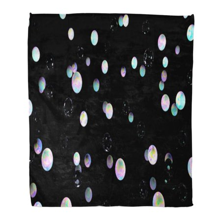 ASHLEIGH Flannel Throw Blanket Holographic Bubbles on Black 3D Night Sky Glass Abstract Fairy Cosmic Planets Pink Blue Fantasy 50x60 Inch Lightweight Cozy Plush Fluffy Warm Fuzzy Soft