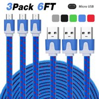 3/6-pack 6Ft Nylon Braided Micro USB Charging Sync Data Cable Charger Cord for Android Phones, Samsung Galaxy S7 S6/S5/Note 5,Tab A/E/S, LG G4/G3/G2/K5/K7/K8, HTC