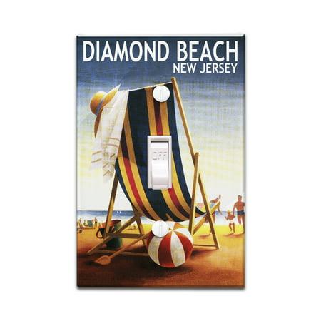 Diamond Beach, New Jersey - Beach Chair & Ball - Lantern Press Artwork (Light Switchplate Cover) - Beach Ball Plates