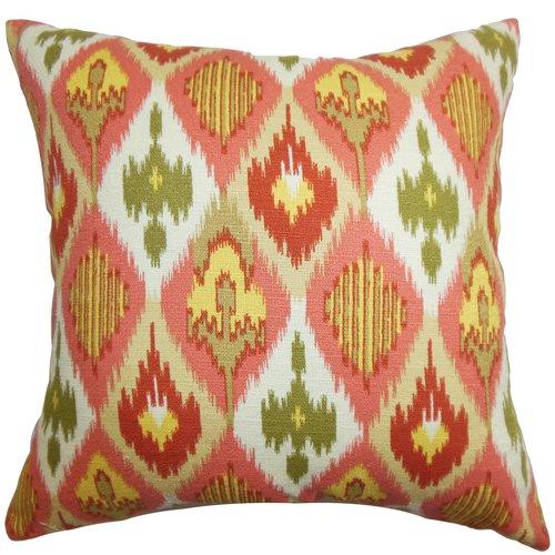 The Pillow Collection Bechet Ikat Cotton Throw Pillow