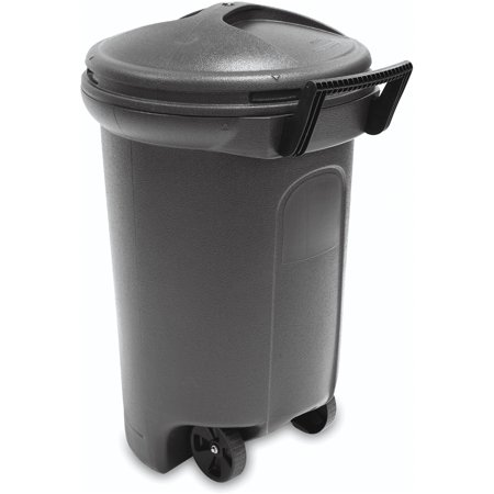 United Solutions Trashmaster 32 Gallon Wheeled Trash Can With Turn   Lock Lid