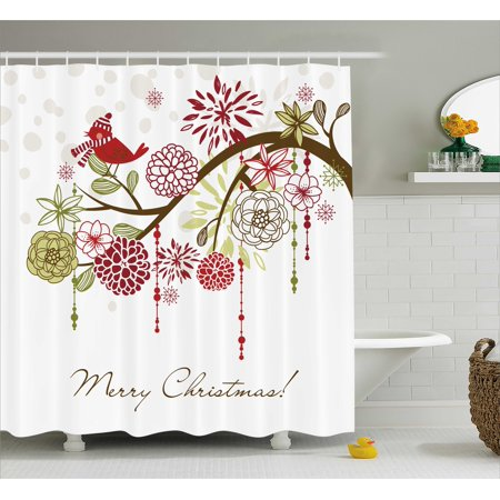 christmas decorations shower curtain set merry xmas floral winter themed red bird with hat and scarf on blooming tree bathroom accessories green white