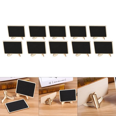 HURRISE 10Pcs Mini Chalk Blackboard Wall Kitchen Note Reminder Wood Message Boards