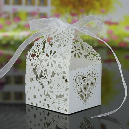 Jupiter Laser - 20 PCS Laser Cut Delicate Carved Flower Elegant Candy Boxes with Ribbon for Party Birthday Wedding Banquet Kindergarten Bridal Shower